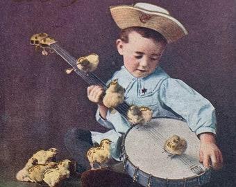 1910 Postmarked Original Postcard boy with Banjo