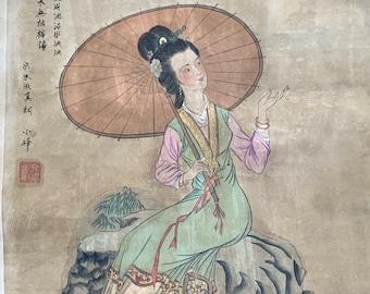 Large Antique Japanese watercolor