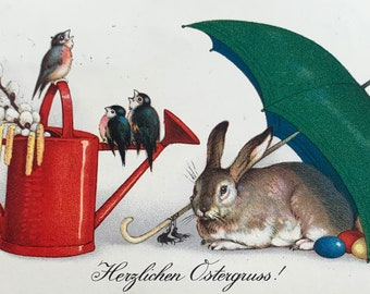 1922 Antique German Postcard with Bunny and birds