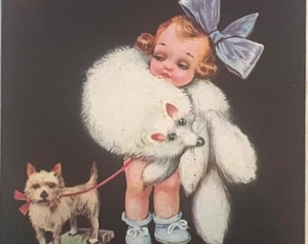 Rare darling antique postcard of Glamour Girl with fur and Toy