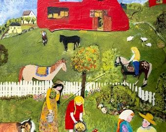 Stunning Original Farm Life Painting