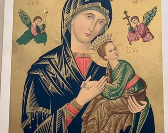 Antique Holy Mother with Christ Child Icon