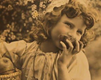 Original Paris France Apple Orchard Darling Photo Postcard