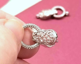 Fancy Silver Fold Over Magnetic Clasp, Magnetic Buckle Clasp 31mm total length CL9043