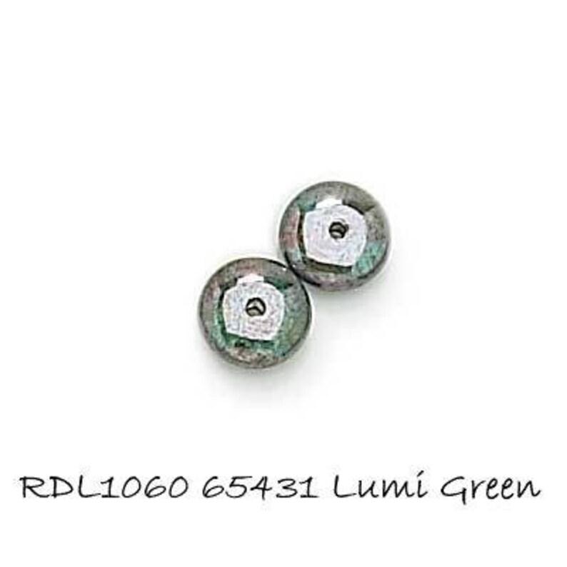 30 Lumi Green 8x3mm Czech glass Rondelle Beads 65431 RDL1060