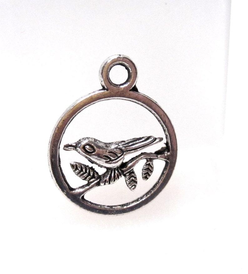 12 Bird on a Branch Charms Antique Silver Tibetan Tone 3D C0130
