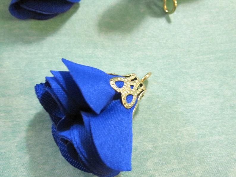 50 Fabric Tassels Midnight Blue Gold Filigree Top Trendy Jewelry Supplies Jewelry Tassel 26mm 1 inch TAS0172