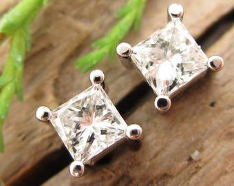 Princess Cut Diamond Stud Earrings, Platinum Screw Back Settings, G-H SI2-3