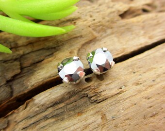 6mm Real 14k Gold or Platinum Screw Backs Silicon Studs Genuine Silicon Metallic Stud Earrings 4mm