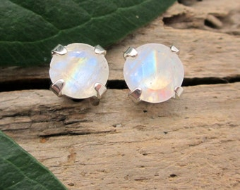 Rainbow Moonstone Earrings in Gold, Silver, Platinum with Genuine Gems, 6mm - Free Gift Wrapping