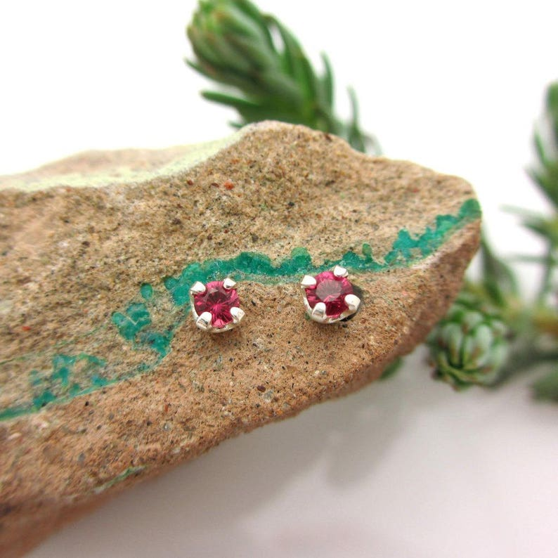 Platinum or 14k Gold Screw Back Earrings with Rubies White Gold or Yellow Gold Screwbacks Ruby Screw Back Studs 3mm