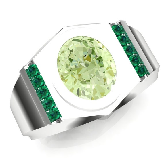 Yellow Green Demantoid Garnet Pear Silver Unisex Stacking Solitaire Ring size 9