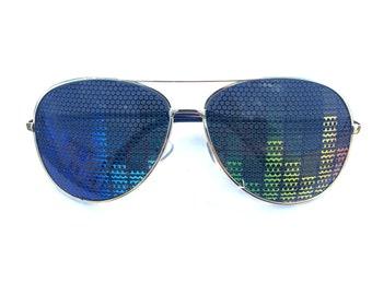 deadphish mashup graphic heart shaped aviator Sunglasses