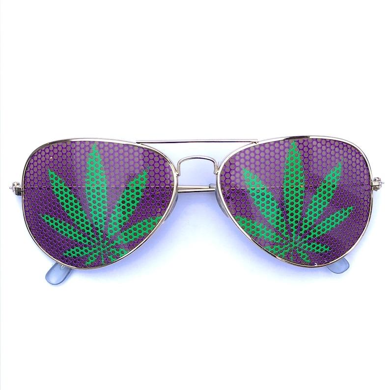 104c6ed7276 Green and Purple Pot Leaf 420 Marijuana Weed Graphic Aviator