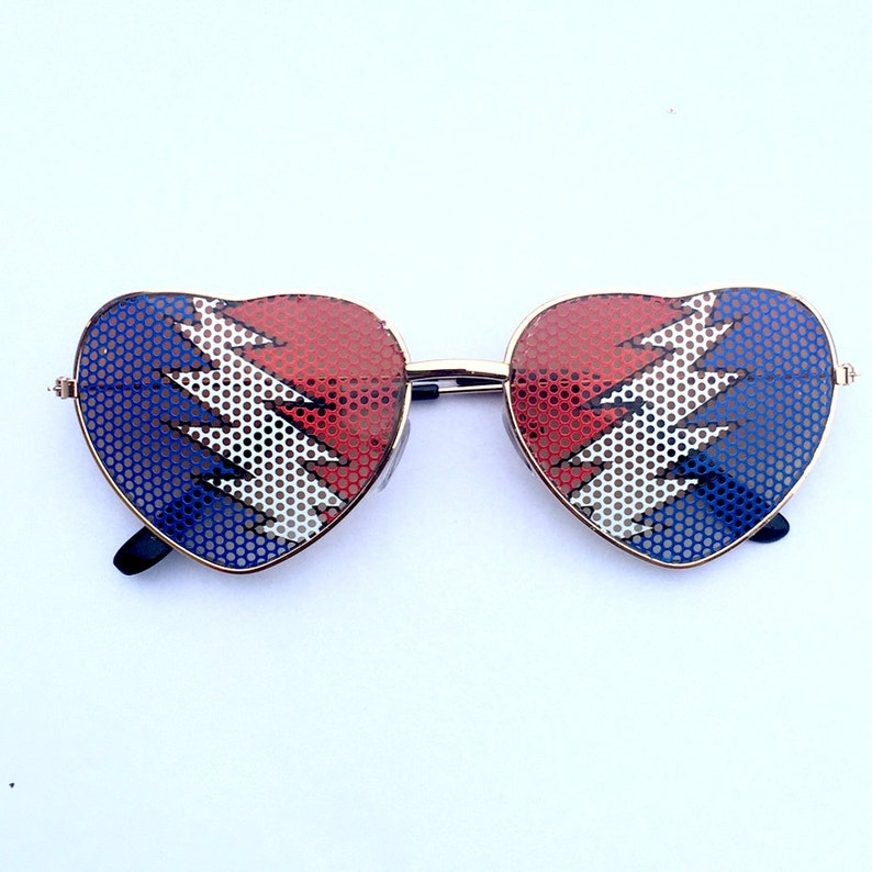 bolt graphic heart shapped sunglasses image 0
