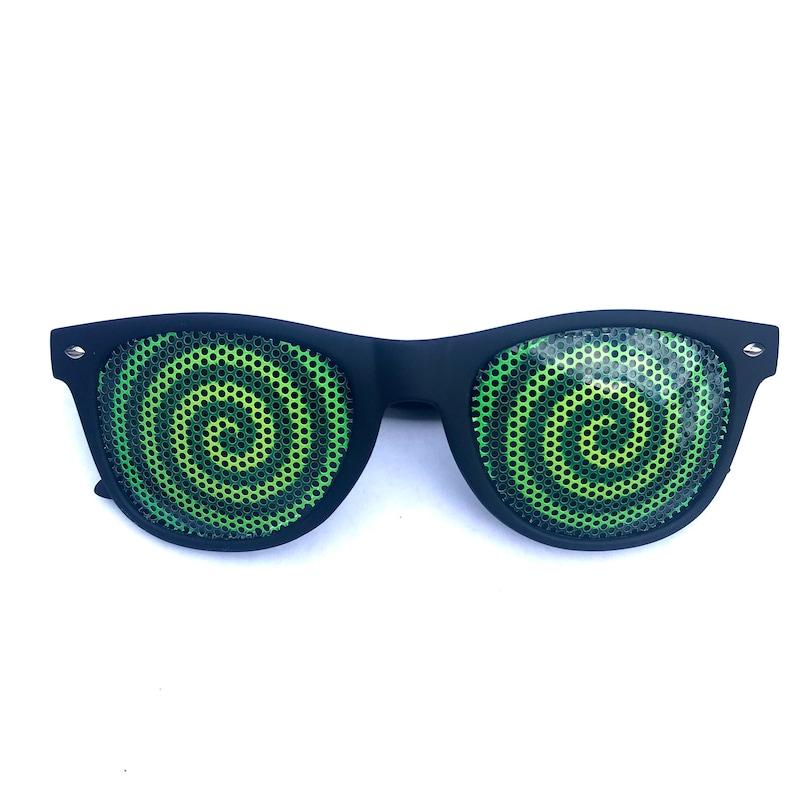 Green Hypnotic swirl novelty Wayfarer Sunglasses image 0