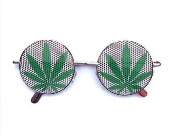 Green and white pot pot leaf round hippie sunglasses