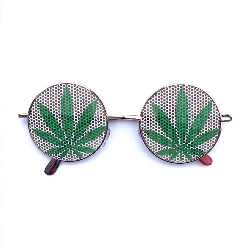 Round style green and white weed pot leafe sunglasses image 0