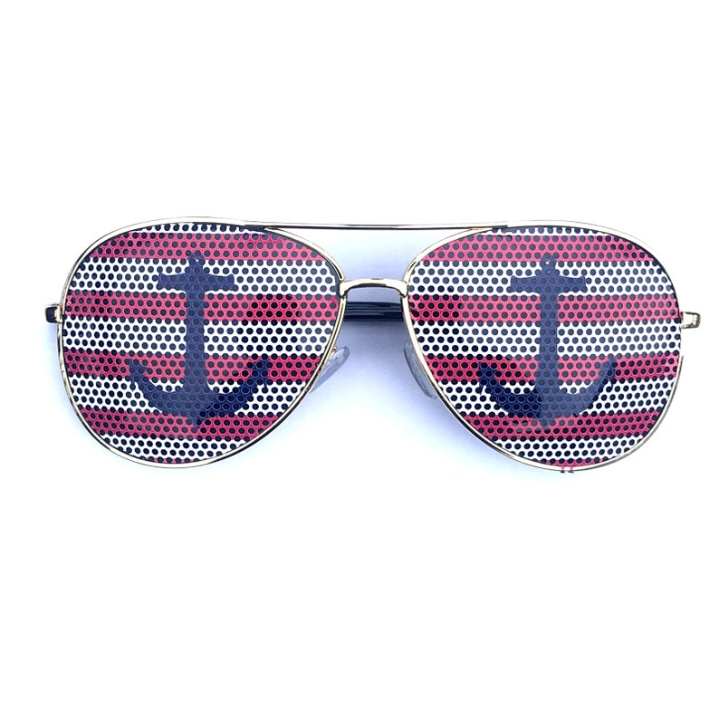30747ec8f7 blue anchor over red nautical stripes graphic aviator sunglasses and other  styles available.