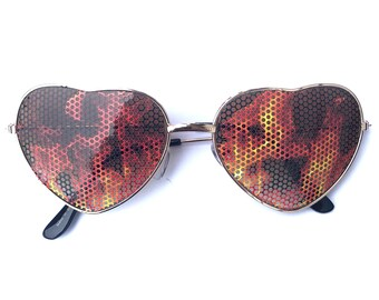 Fire Graphic Heart-Shaped Aviator Gold Sunglasses