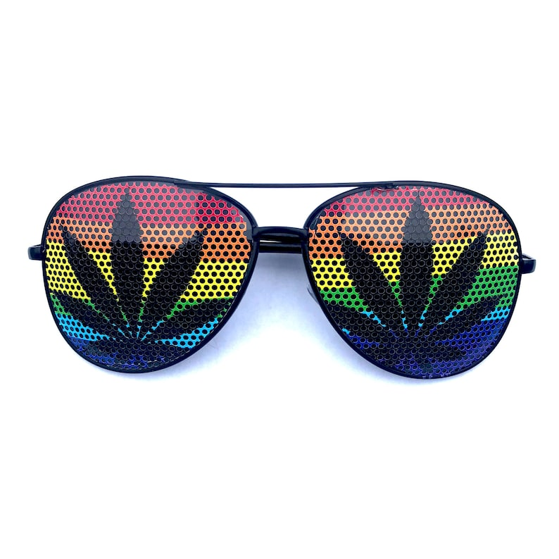 02d543d2f86dc Rainbow Field Black Weed Leaf Graphic Polarized Party Aviators