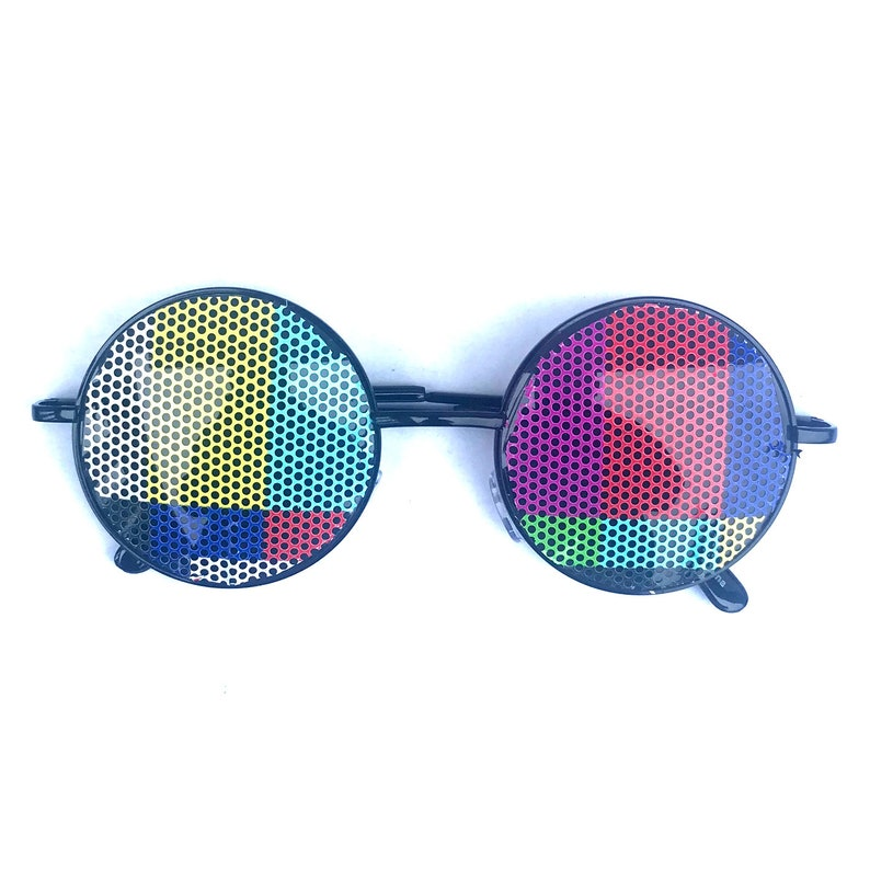 TV Test Print Round Hippie Style Sunglasses Silver Gold and image 0