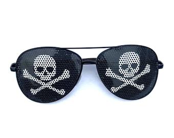 Skull & Crossbones Pirate Graphic Polarized Aviator Party Festival Sunglasses