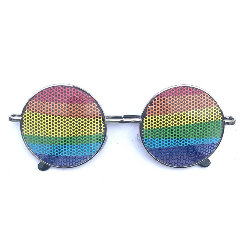 Wavy Rainbow graphic round hippie style glasses multiple image 0