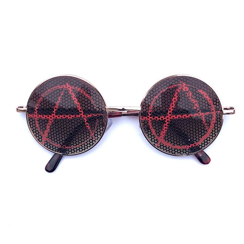 anrachy symbol round lennon style sunglasses multiple frame image 0