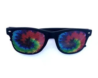 tie-dye spirals  graphic wayfarer sunglasses