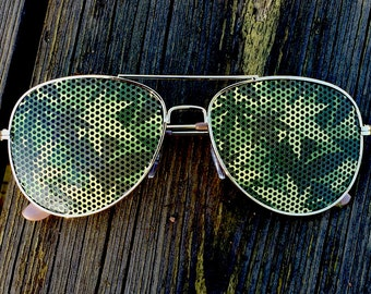 Cannabis Camouflage 420 Weed Graphic Polarized Aviator Party Festival Sunglasses