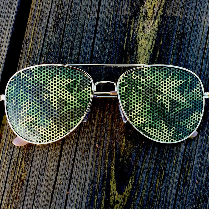Cannabis Camouflage 420 Weed Graphic Polarized Aviator Party image 0