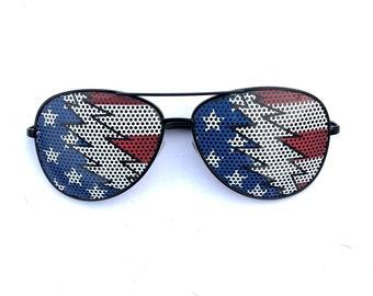 Uncle Sam Bolt American Flag graphic aviator sunglasses