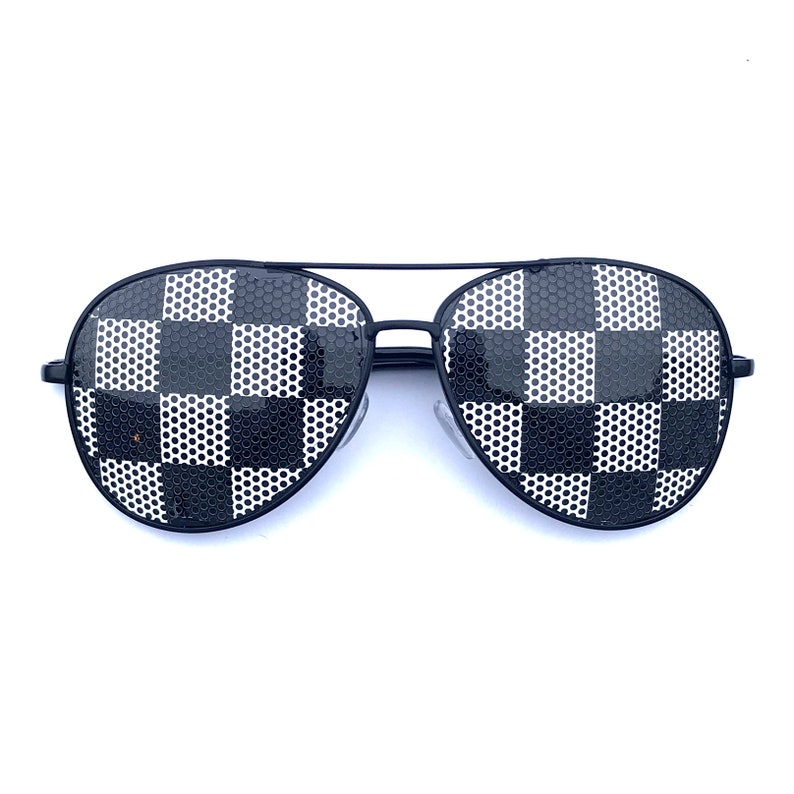 Black and White Checkered Pattern Aviator Sunglasses other image 0