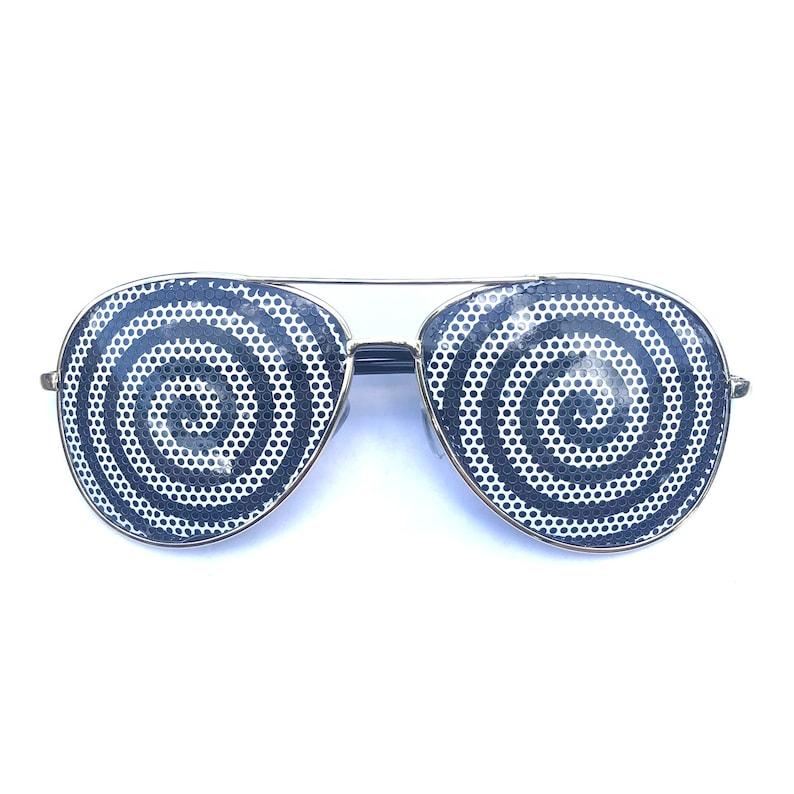 Hypnotic Black and White Spiral Swirl Graphic Aviator Graphic Polarized Avi Gold