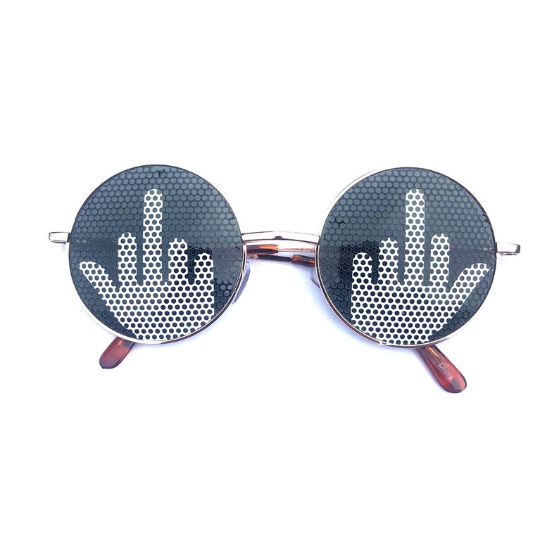Middle Finger Graphic Round Sunglasses silver