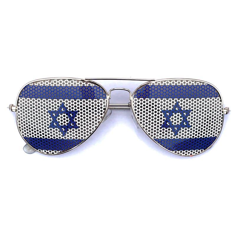 Israeli Flag Star of David Graphic Aviator Sunglasses image 0