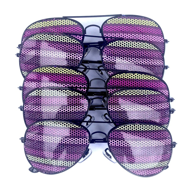 Pastel Colored Stripe Pattern Graphic Polarized Aviator Party image 0