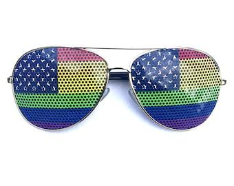 Rainbow Pride American flag aviator sunglasses (multiple styles available!)