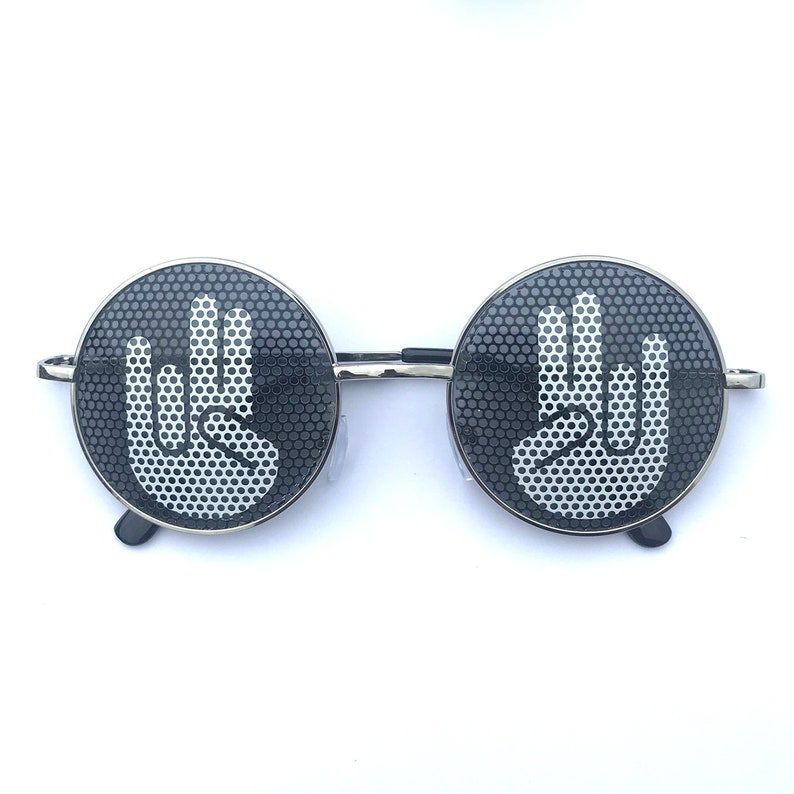 Shocker Hand Sign Round Sunglasses silver