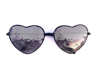 Disco Ball graphic heart shaped sunglasses