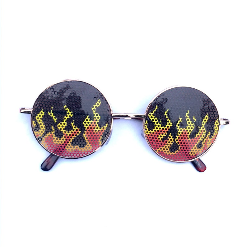 Airbrush style Flame graphic Round sunglasses multiple frame gold