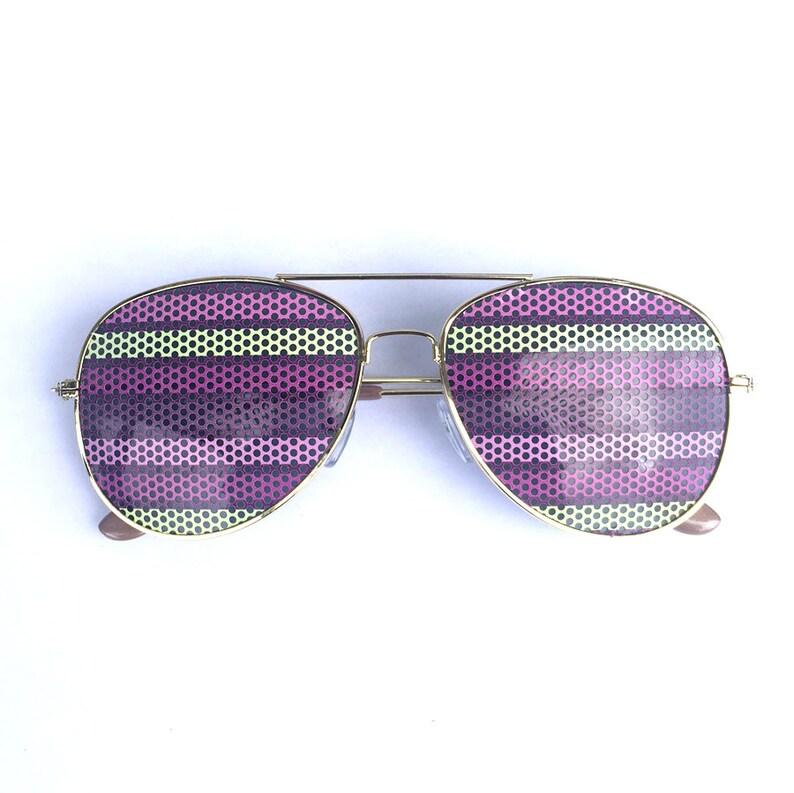 Pastel Horizontal Stripes Graphic Aviator Festival Sunglasses image 0