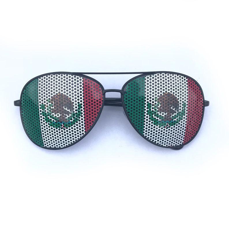 Mexican Flag Graphic Polarized Aviator Festival Sunglasses Polarized Avi Black
