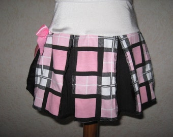 New Black white pink spotted check skulls Pleated Party Skirt Gothic Rock Dance