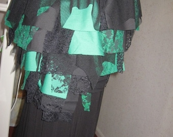 NEW Black green Tatty Skirt Halloween bustle Party  Pixie Witch Gothic One size