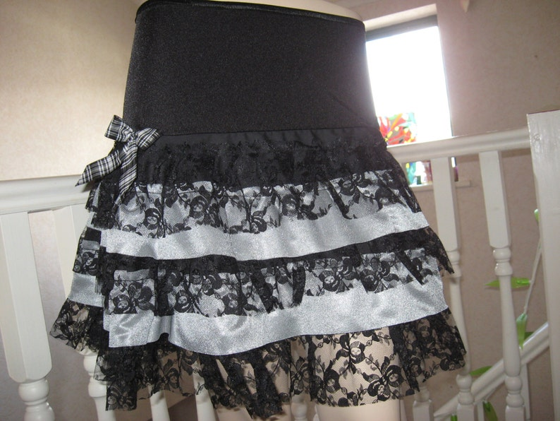 NEW Unique Black Grey Lace Long Skirt Rock Lagenlook Gothic RetroRock-All sizes