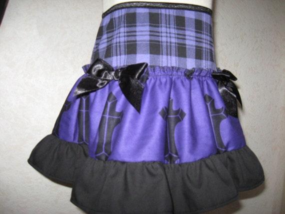 New Black White Grey Funky skulls spot Check Tartan Skirt All sizes Party Gothic