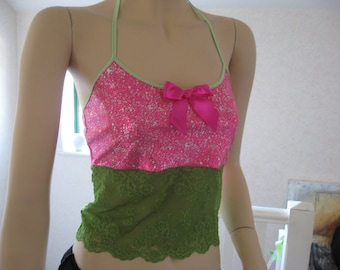 NEW Sequoia,Black,blue,pink,green,silver  metallic Lace Festival,Dance,Rock yoga Crop top