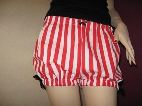 New CUTE Red white hearts shorts sissy bloomers pantaloons lolita party Festival